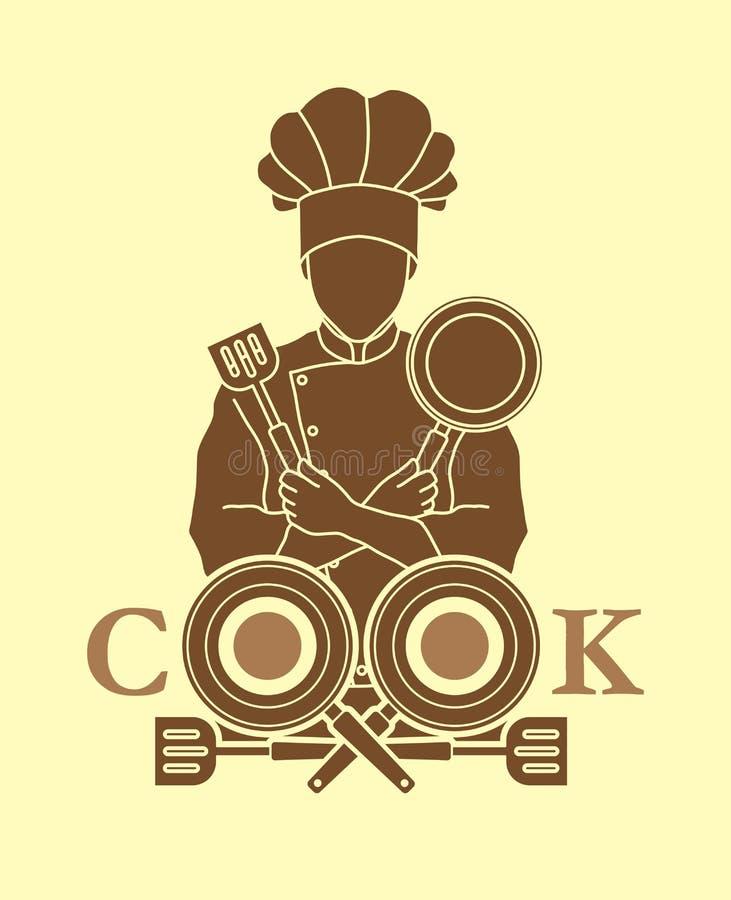 Création de fonte de chef et de cuisinier avec la casserole et la spatule illustration de vecteur