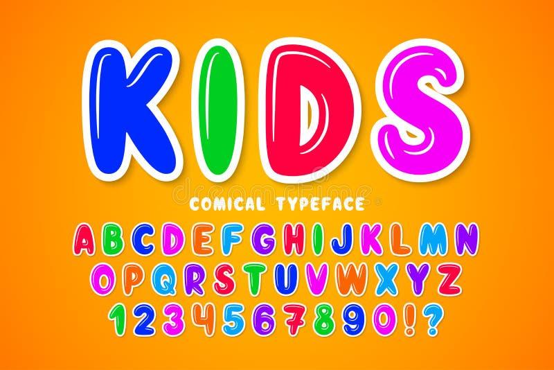 Création de fonte comique de bulle d'enfants, alphabet coloré, oeil d'un caractère illustration de vecteur