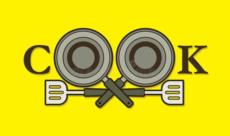 Création de fonte de cuisinier avec la casserole et la spatule illustration libre de droits
