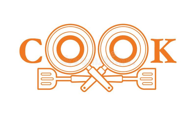 Création de fonte de cuisinier avec la casserole et la spatule illustration de vecteur