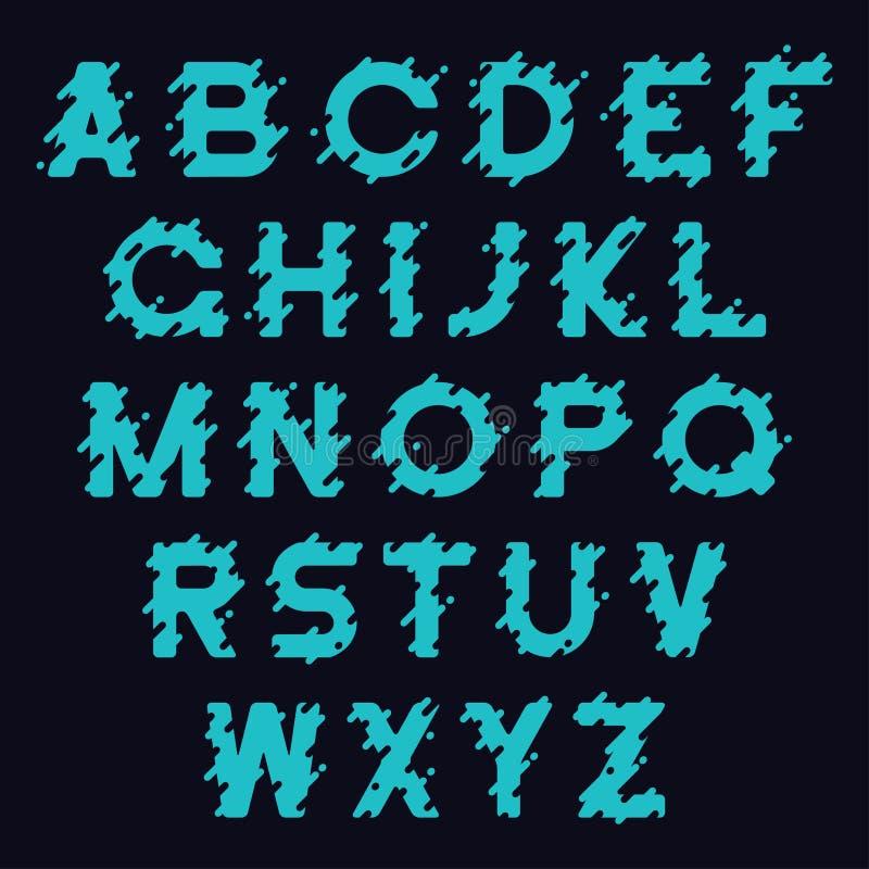 Création de fonte liquide Alphabet stylisé avec l'éclaboussure liquide, les baisses et les lignes arrondies Oeil d'un caractère e illustration stock