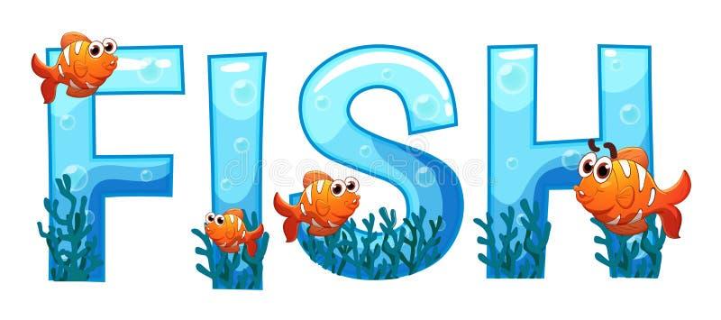 Création de fonte pour des poissons de mot illustration libre de droits