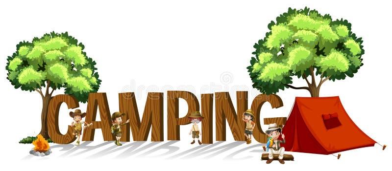 Création de fonte pour le camping de mot avec les enfants et la tente illustration libre de droits