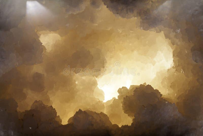 Création de représentation graphique de caverne en cristal images libres de droits