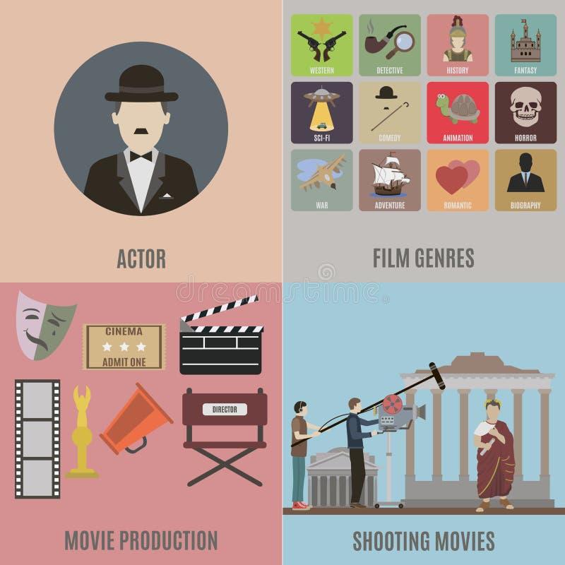 Création des icônes de films illustration stock