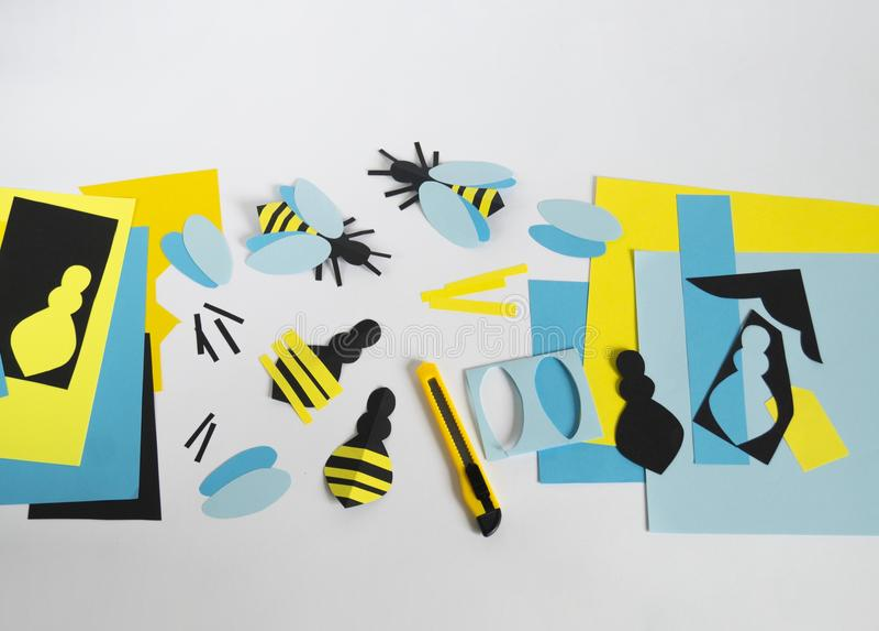 créativité avec des enfants Classe principale sur créer des abeilles de papier photos libres de droits