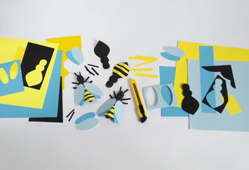 créativité avec des enfants Classe principale sur créer des abeilles de papier photographie stock libre de droits