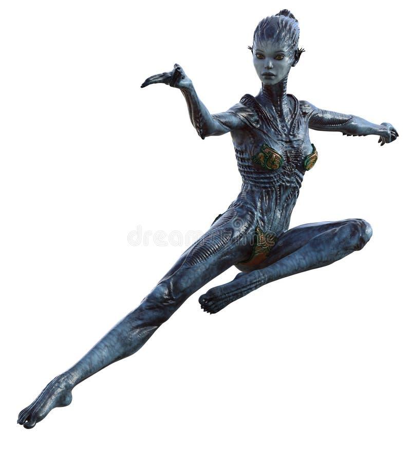 Créature étrangère féminine dans la pose d'action photographie stock