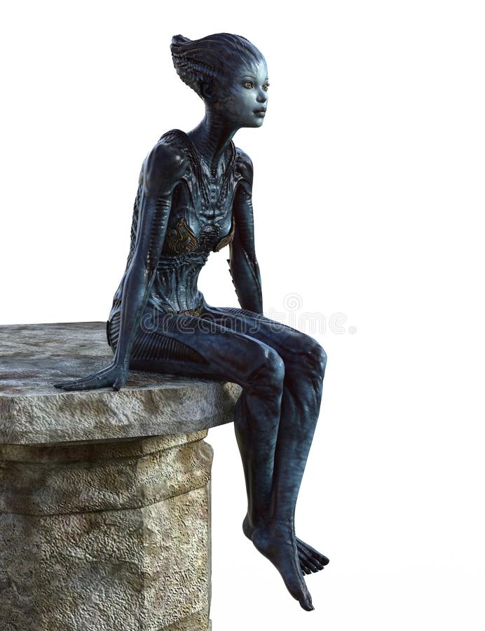 Créature étrangère féminine s'asseyant sur une plate-forme en pierre images libres de droits