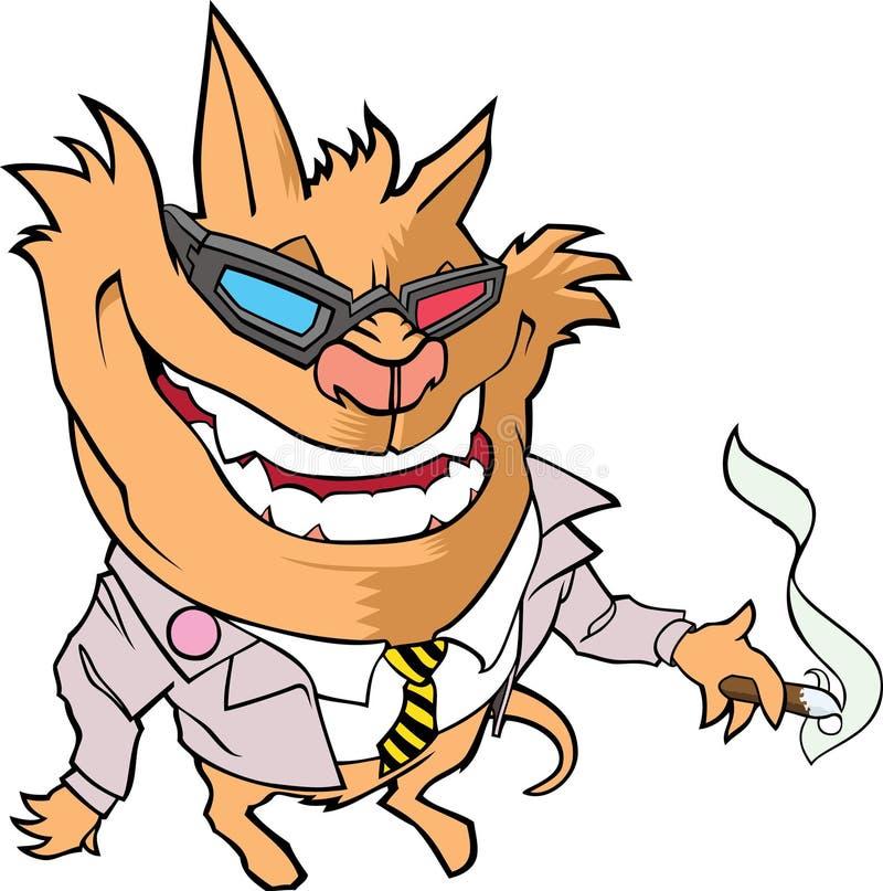Créature de chat, utilisant une veste de costume, tenant un cigare image stock