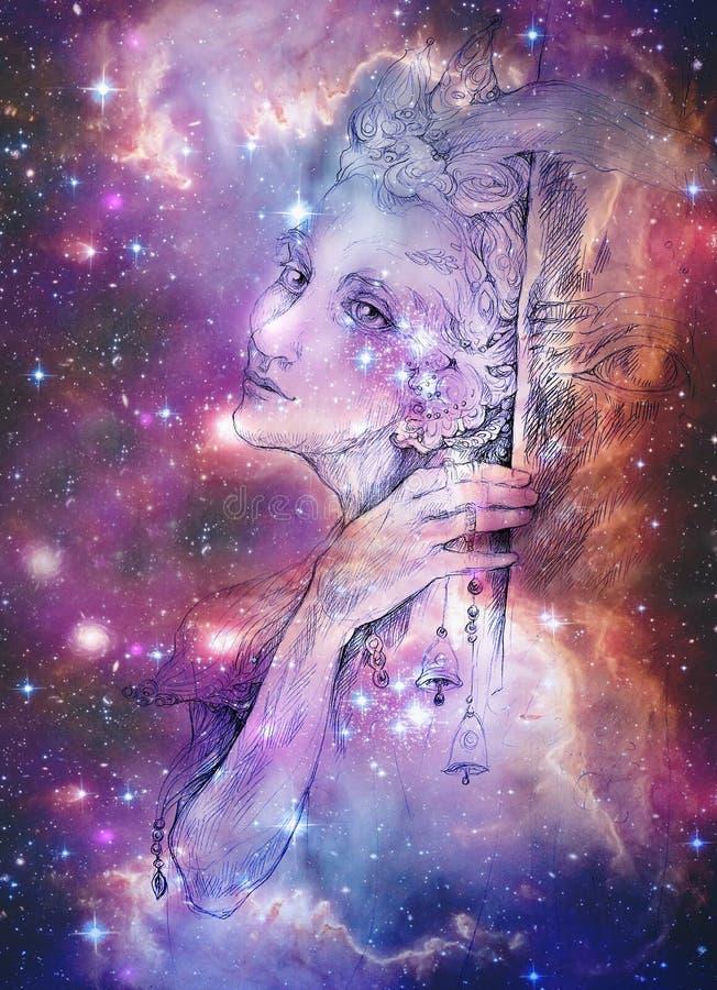Créature féerique d'Elven avec des cloches d'étameur ambulant et des étoiles, dessin multicolore illustration de vecteur