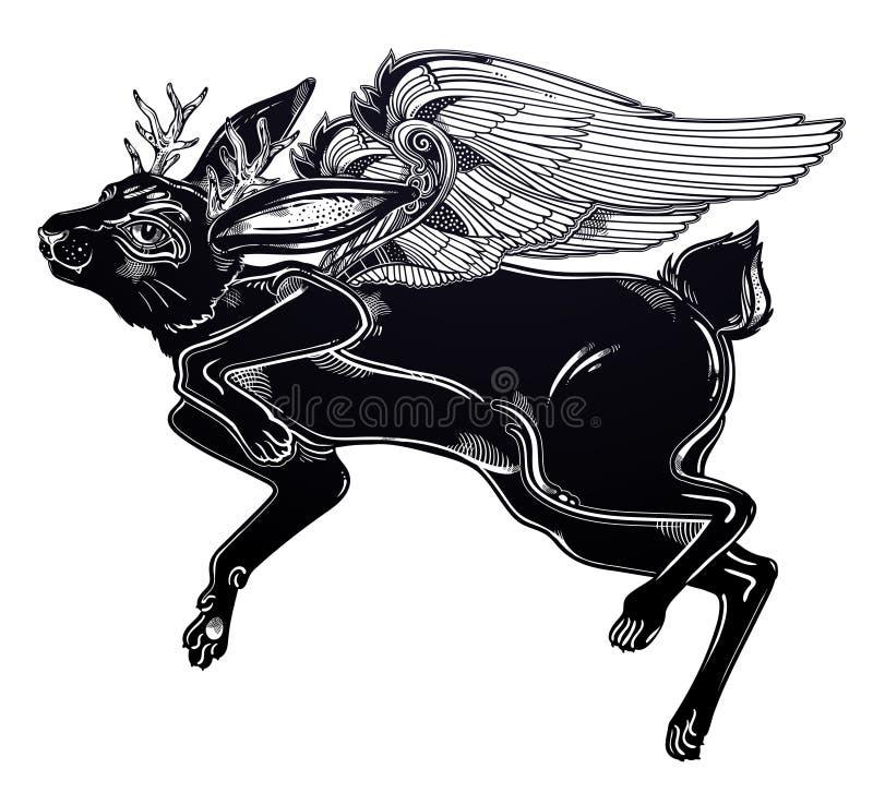 Créature idéale volante à ailes de folklore de cru de bête magique de jackalope illustration de vecteur