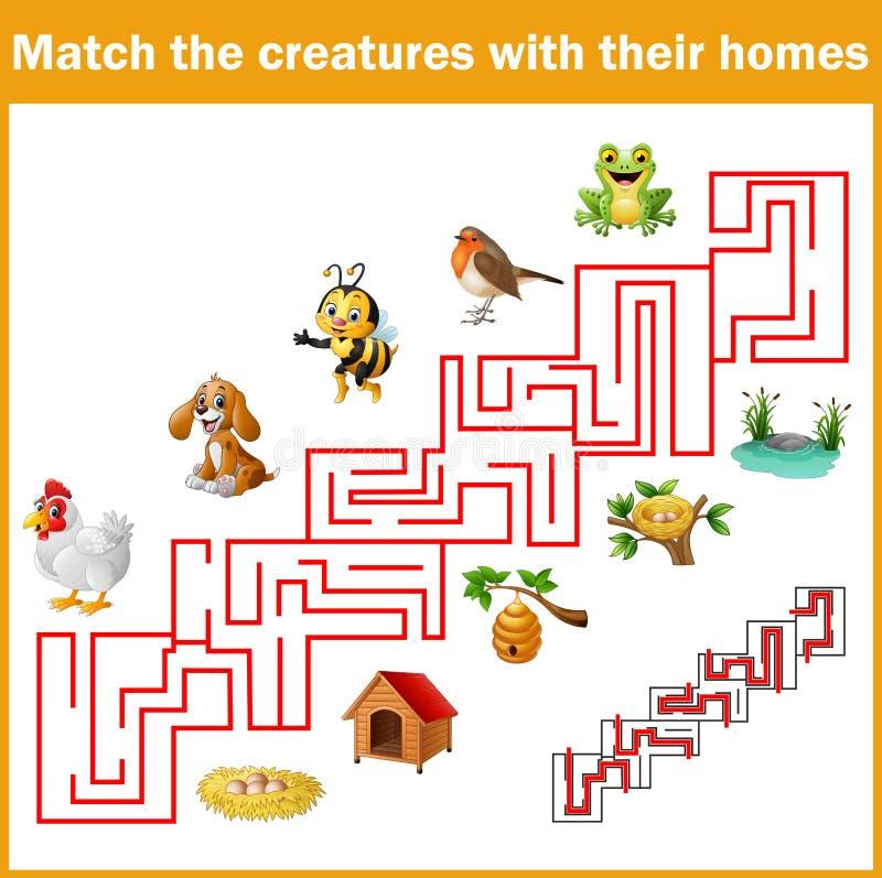 Créatures de match avec leurs maisons illustration stock