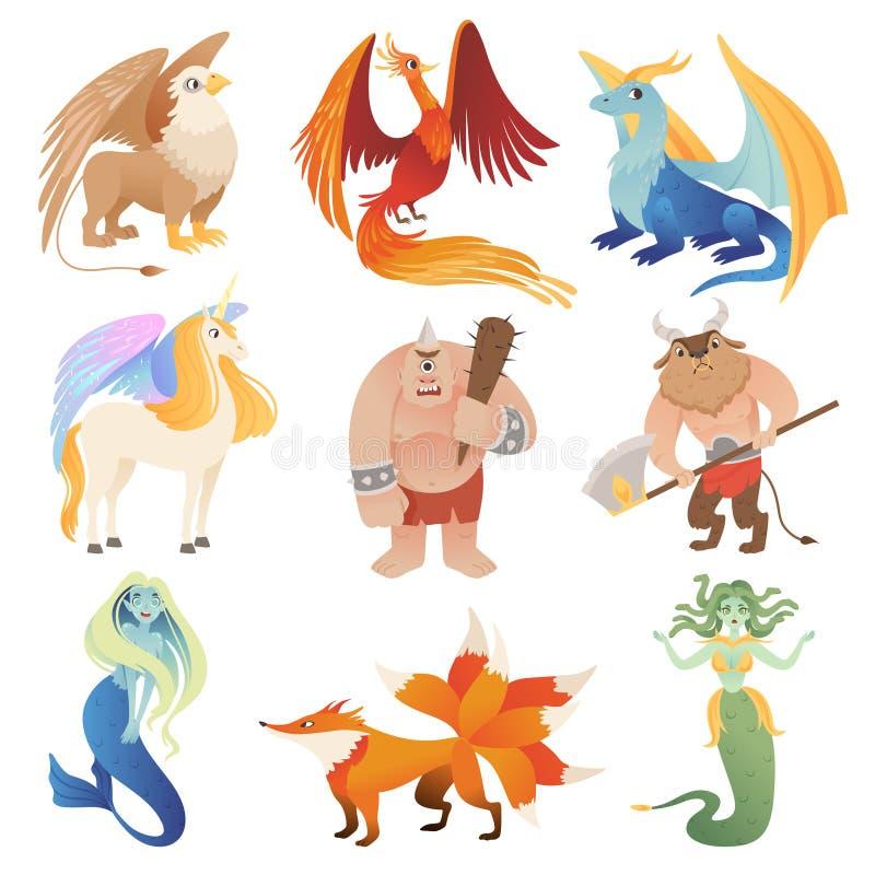 Créatures fantastiques Animaux hybrides de dragon de Phoenix pilotant des images de bande dessinée de vecteur de centaure de mino illustration de vecteur