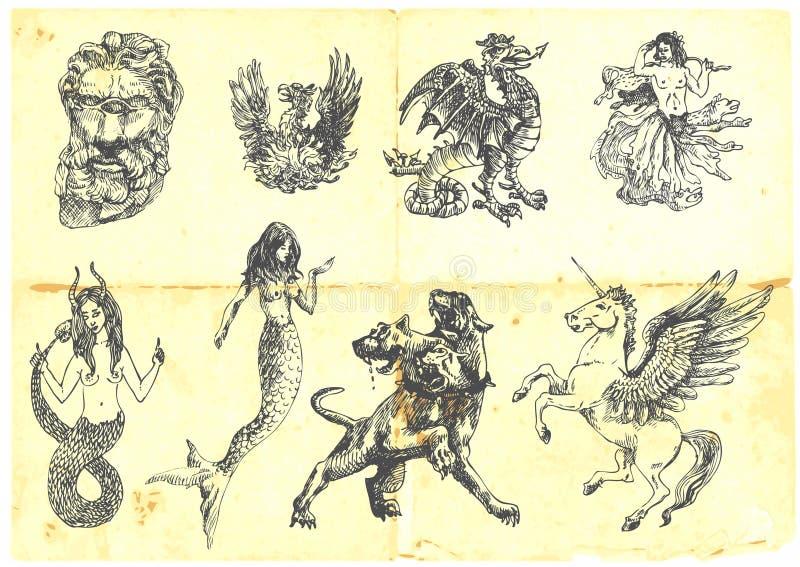 Créatures mystiques illustration stock