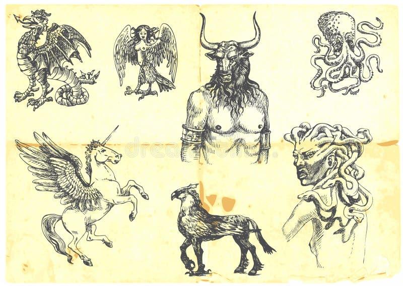 Créatures mystiques illustration de vecteur