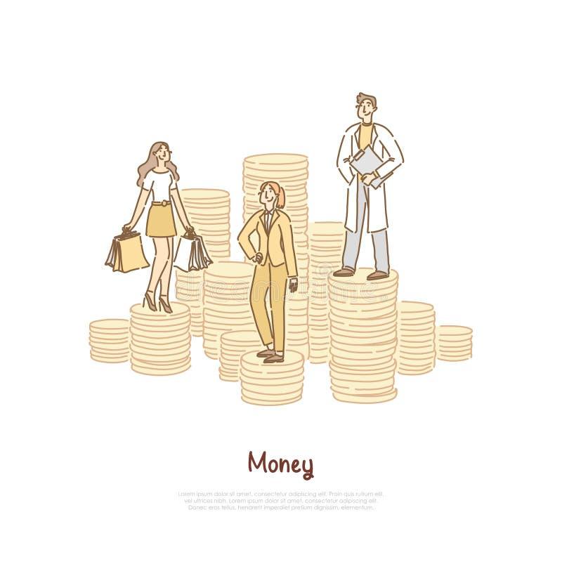 Crédit bancaire, client tenant des sacs, femme d'affaires réussie, docteur heureux, jeune scientifique, bannière de comparaison d illustration de vecteur
