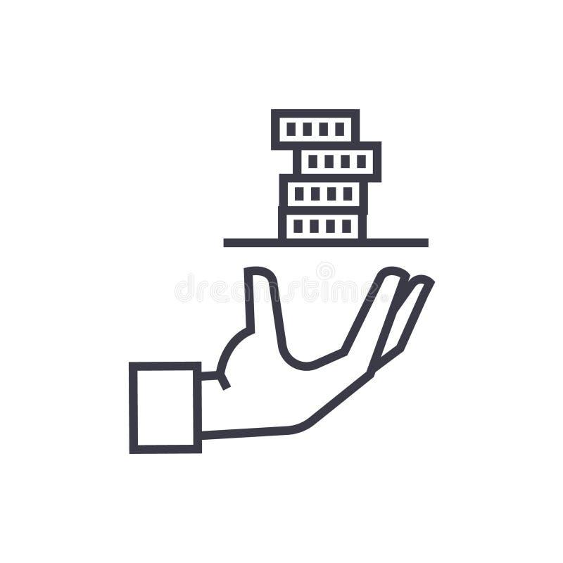 Créditez le prêt, main avec l'icône linéaire d'argent, signe illustration libre de droits