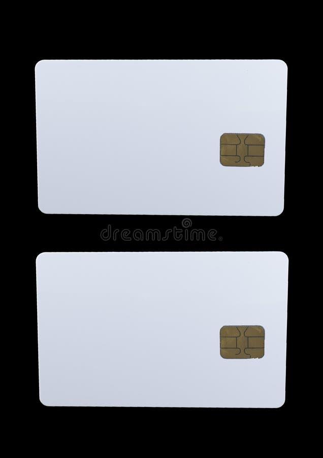 Crédito branco vazio no preto isolado imagem de stock royalty free