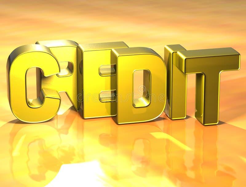 crédito de la palabra 3D en fondo amarillo stock de ilustración