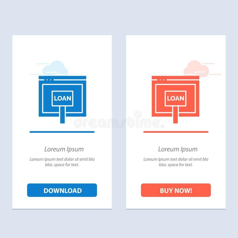 Crédito, Internet, empréstimo, dinheiro, transferência azul e vermelha em linha e para comprar agora o molde do cartão do Widget  ilustração do vetor