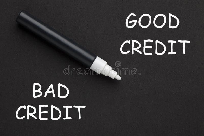 Crédito mau do bom crédito fotografia de stock