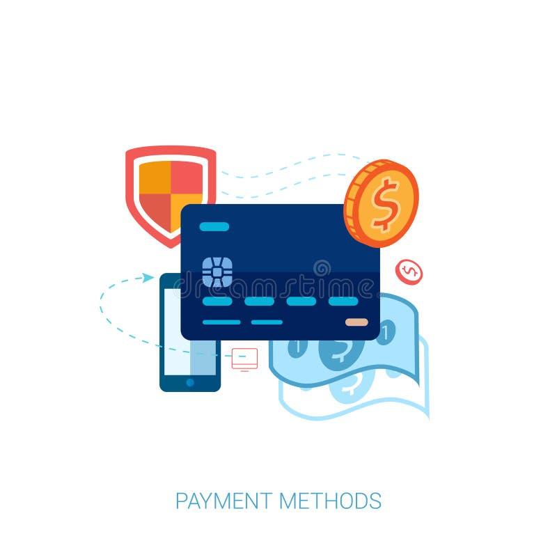 Crédito ou vetor em linha do pagamento do cartão de crédito liso ilustração royalty free