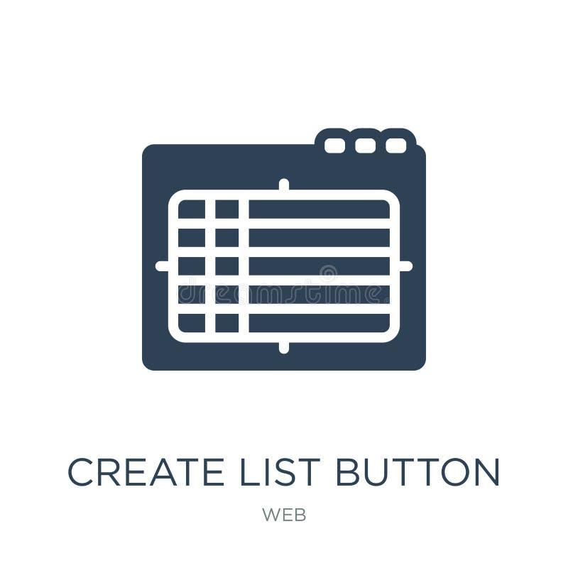 créez l'icône de bouton de liste dans le style à la mode de conception créez l'icône de bouton de liste d'isolement sur le fond b illustration stock