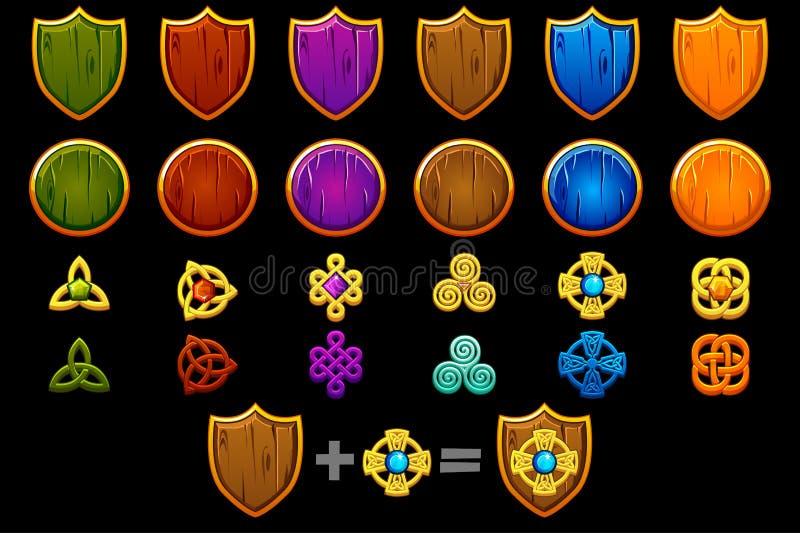 Créez le bouclier celtique réglé Constructeur de vecteur pour créer le kit différent, développement de jeu illustration libre de droits