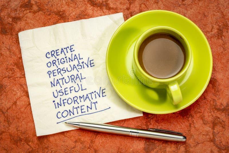 Créez le contenu original, utile, instructif photographie stock