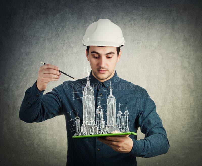 Créez les bâtiments 3d prévoient le projet image stock