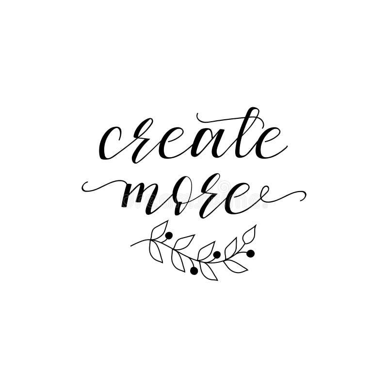 Créez plus Signe imprimable positif lettrage Illustration de vecteur de calligraphie illustration de vecteur