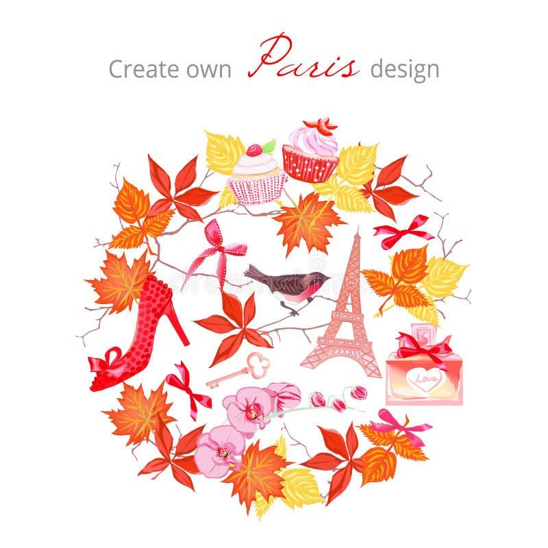 Créez pour posséder l'ensemble automnal de vecteur de conception de Paris Tous les éléments sont est illustration libre de droits