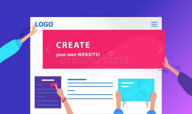 Créez votre propre conception au néon de vecteur plat de site Web pour la bannière de Web Illustration de gradient des mains huma illustration libre de droits