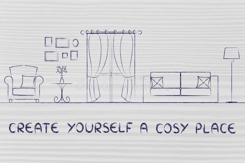 Créez-vous un endroit confortable image stock