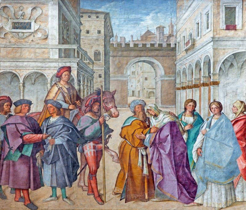 CRÉMONA, ITALIA, 2016: El fresco de St Joaquín y St Anne, padres de la Virgen María en la catedral por Boccaccio imagen de archivo