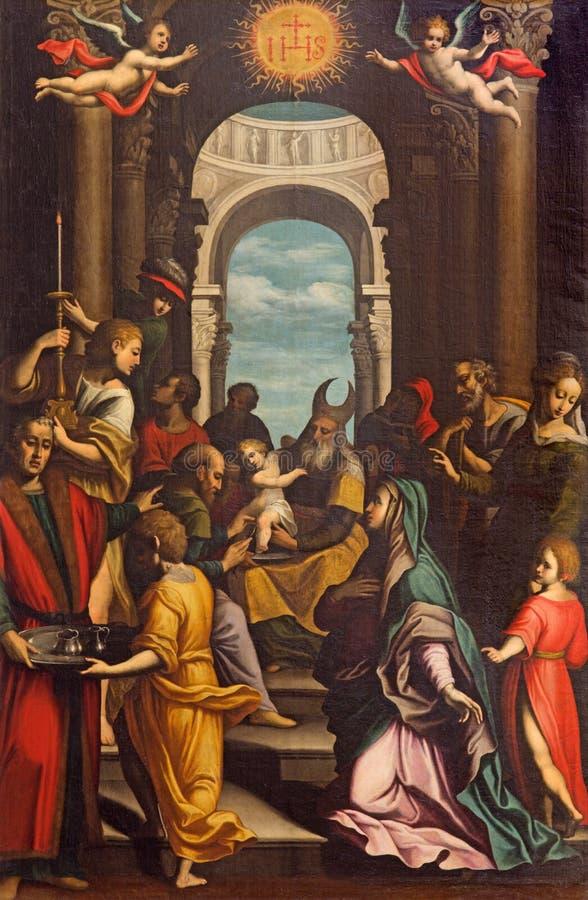 CRÉMONA, ITALIA, 2016: La circuncisión de Jeusu en los di Santa Agata de Chiesa del artista desconocido de 17 centavo imagen de archivo
