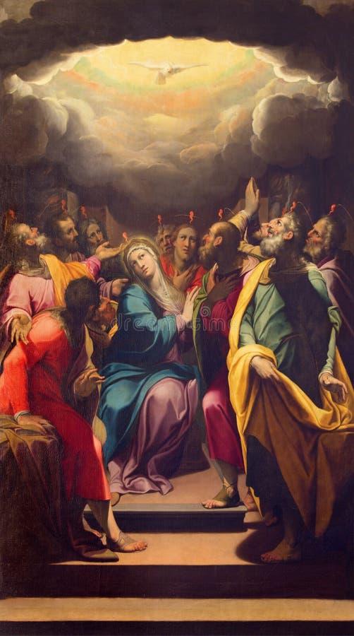 CRÉMONA, ITALIA, 2016: La pintura de Pentecostés en la catedral por G B Trotti apodó Malosso foto de archivo libre de regalías