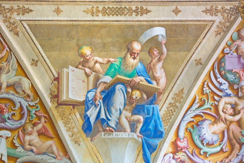 CRÉMONE, ITALIE : Fresque de prophète des anges en Chiesa di San Sigismondo par Giulio Campi, Bernardino Campi et Bernardino Gatt image stock