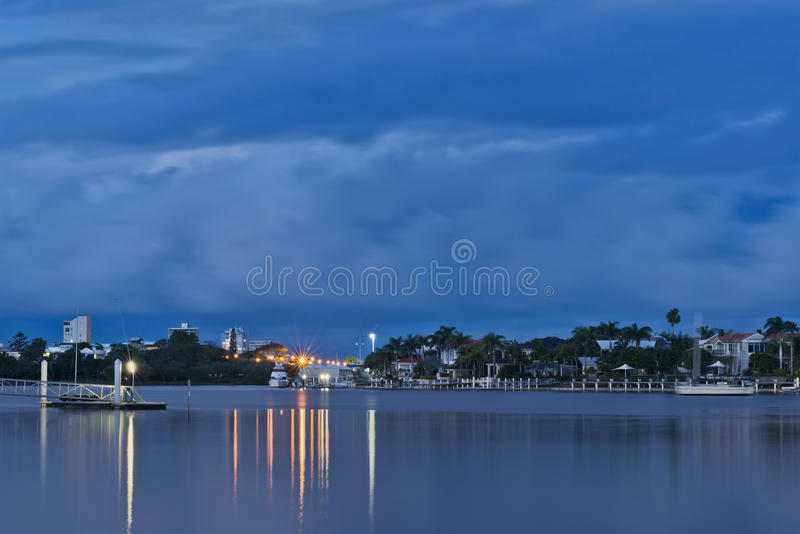 Crépuscule à la marina de Mooloolaba photographie stock