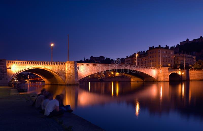 Crépuscule à Lyon photos stock