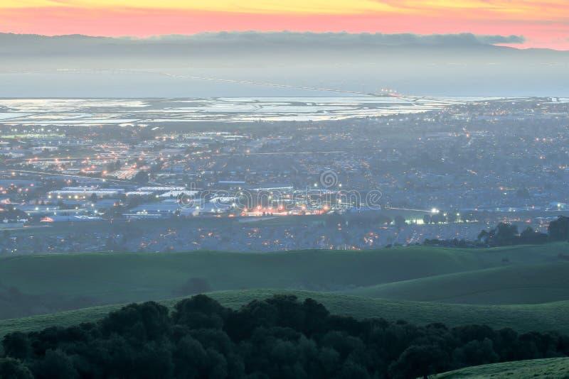 Crépuscule au-dessus de Silicon Valley photo stock