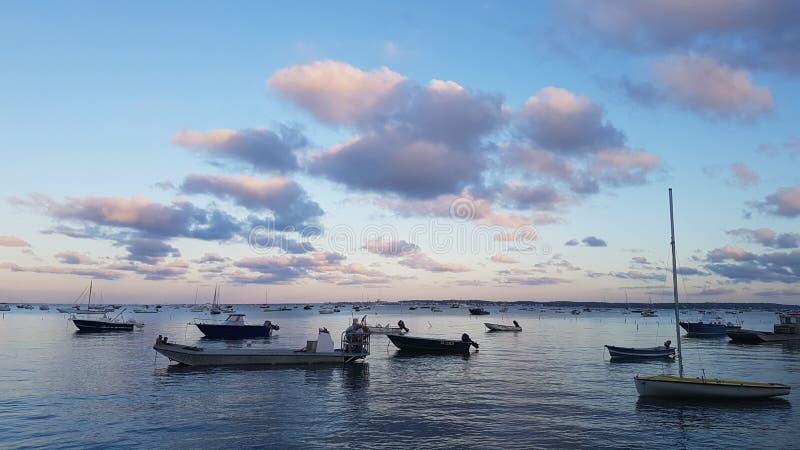 Crépuscule au-dessus du d& x27 de Bassin ; Arcachon près de Bordeaux, France images libres de droits