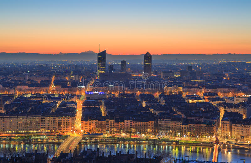 Crépuscule de Lyon photographie stock libre de droits