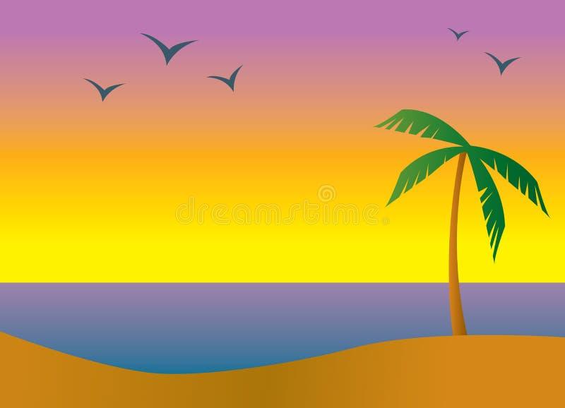 Crépuscule de plage d'île illustration libre de droits