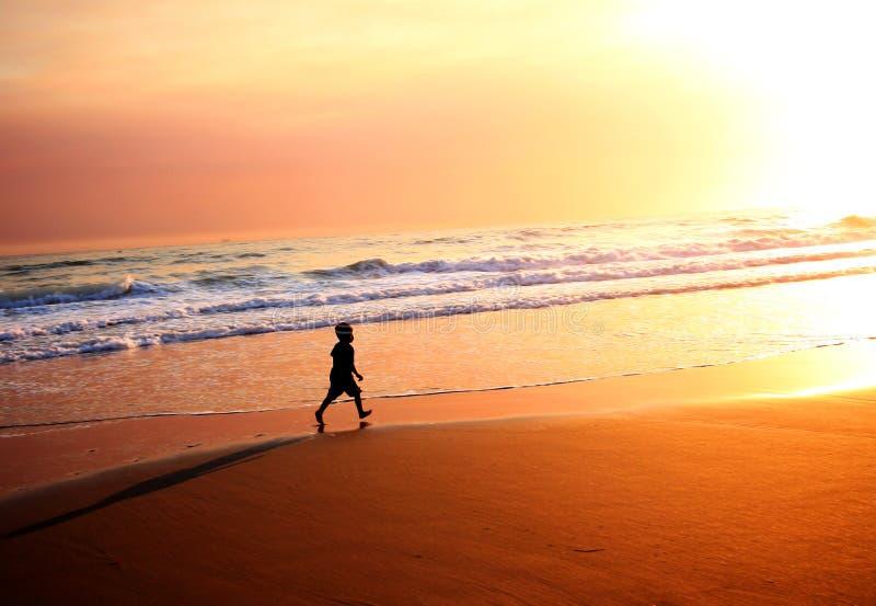 crépuscule de silhouette de plage photographie stock