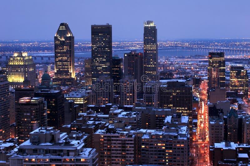 Crépuscule de ville de Montréal image libre de droits