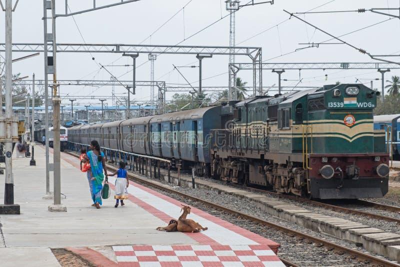 Crétins peu communs sur le chemin de fer indien image stock