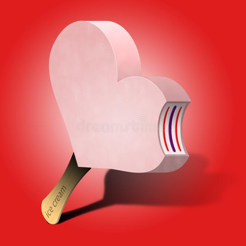 Crême glacée 3D de coeur images stock