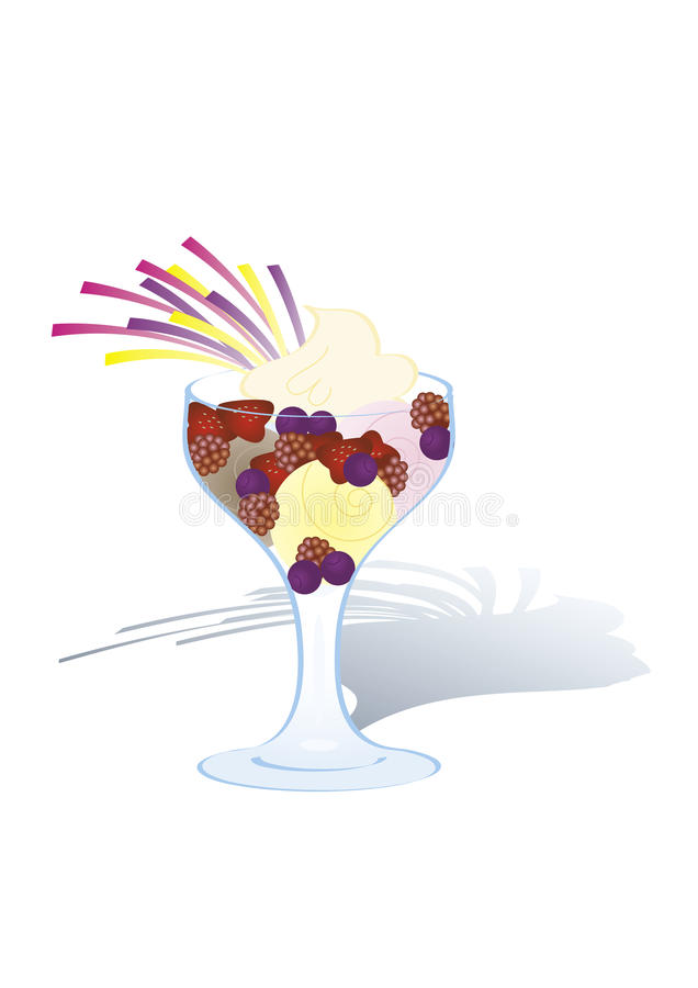 Crême glacée avec les fruits et la crème fouettée image stock